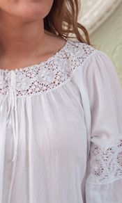 Stunningly exquisite crochet bands on the 3/4 arm and at the sleeve opening wow, while yet another amazing inset crochet band ringing the neckline houses a delicate satin ribbon.  http://www.aprilcornell.com/product/Eva-Ladies-Nighty-NTA5010W-White/nightwear