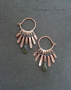 .Cool hoop earrings with hammered wire dangles by jannie