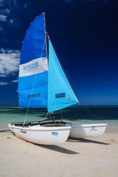 Catamaran on the Brisas Guardalavaca Hotel beach, Guardalavaca, Cuba.