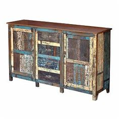 Recycled wood 4 drawer and 2 door sideboard Crate Furniture, Furniture Repair, Rustic Furniture, Handmade Furniture, Unfinished Wood Furniture, Wooden Drawers, Recycled Wood, Sideboard, Wood Art