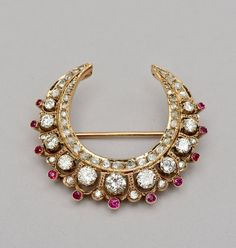A magnificent Ct diamond and ruby accent Victorian crescent moon brooch Antique Jewelry, Vintage Jewelry, Gold Hair Accessories, Moon Jewelry, Jewelry Box, Gold Jewellery Design, Wedding Jewelry, Wedding Hair, India Jewelry