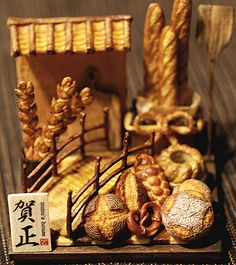 Nunu's House incredible artisan breads and bread sculptures- this artist never ceases to amaze! Tiny Food, Fake Food, Miniature Food, Miniature Dolls, Polymer Clay Miniatures, Dollhouse Miniatures, Bread Art, Food Carving, Minis
