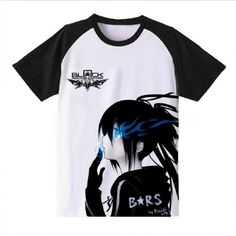 Anime Black Rock Shooter BRS Black and White T-Shirt Tee Size M