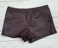 0982c33d7f Forever 21 dark purple vegan faux leather hi rise studded shorts lined womens  27
