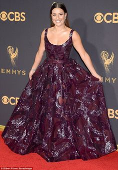 Princess in purple: Lea Michele ensured all eyes were well and truly on her as she hit the red carpet at the 69th Emmy Awards at the Microsoft Theater in Los Angeles on Sunday night