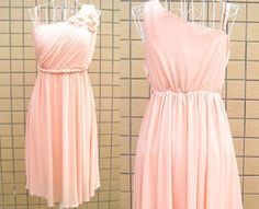 Knee Length One Shoulder Pink Empire Bridesmaid Dress Formal Short Prom Dress Fashion Chiffon Wedding Party Dress Short Evening Dress on Etsy, $88.00