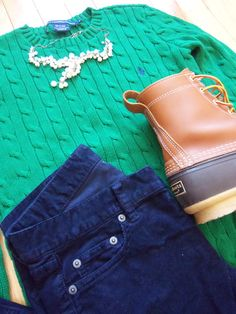aprettypreppylife:    OOTD Sweater: Ralph Lauren  |  Shoes: L.L. Bean Boots  |  Pants: J.Crew  |  Necklace: Forever 21