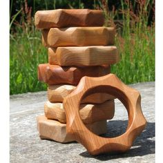 """Hardwood Teether, 3"""" diameter, ages 3-12 months, rub with non-toxic food grade oil to keep wood hydrated"""