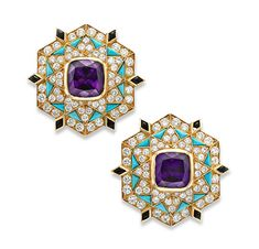 A Pair of Amethyst, Onyx, Turquoise and Diamond Ear Clips, by Bulgari, circa 1960 - Bulgari Jewelry, Jewelery, Jewelry Design Drawing, Diamond Tops, Jewelry Branding, Branded Jewellery, Jewelry Art, Lotus Jewelry, Antique Jewelry