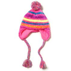 Pink with Rainbow Stripes Chenille Trapper Hat