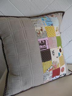 patchwork pillow...linen...polka-dot binding <3