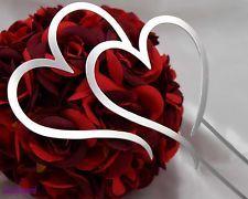 1 Pc 19cm Double Heart Silver Metal Wedding Cake Topper Silver