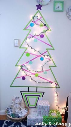 Short on space? Want a tree that takes up no space? Try this fun and playful washi tape tree complete with lights.