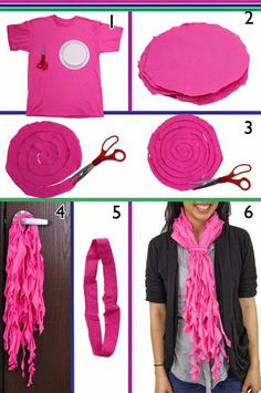 Good Ideas For You | Recycle an ols T shirt into a scarf.