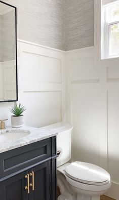Our Powder Room is Complete - A Thoughtful Place Downstairs Bathroom, Bathroom Renos, Bathroom Interior, Small Bathroom, Master Bathroom, Bathroom Ideas, Fancy Bathrooms, Half Bathrooms, A Thoughtful Place