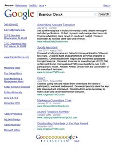 Google search cool creative resume cv design