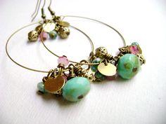 Bohemian style earrings pink turquoise golden - Dancing - turquiose golden pink blue fairy earrings