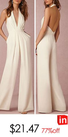 Women's Wide Leg Backless Kentucky Derby Daily Sexy Halter Neck Red Wine Blue Wide Leg Jumpsuit, Solid Colored Backless M L XL Cotton Sleeveless Summer Long Jumpsuits, Jumpsuits For Women, Jumpsuit Outfit, Sequin Jumpsuit, Backless Jumpsuit, Joseph Ribkoff, Evening Dresses For Weddings, Pants For Women, Clothes For Women