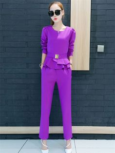 Suit Flouncing High Waist Slim Leisure Style(Pressure Point)