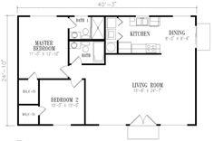 Mediterranean Style House Plan - 2 Beds 2 Baths 1000 Sq/Ft Plan #1-140 Floor Plan - Main Floor Plan - Houseplans.com
