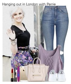"""""""Hanging out in London with Perrie"""" by irish26-1 ❤ liked on Polyvore featuring Topshop, adidas, FingerPrint Jewellry, Maybelline, Elizabeth Arden and Lancôme"""
