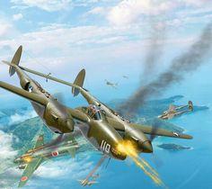 P-38 Lightnings Attacking Japanese Bombers.