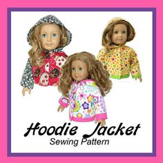 18 inch American Girl Doll Clothes PDF pattern Hoodie Jacket via Etsy