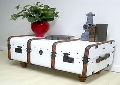 white steamer trunk coffee table