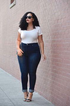 Tanesha Awasthi of GirlWithCurves.com wearing High Waist Jeans
