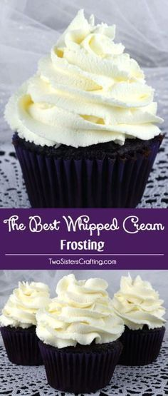The Best Whipped Cream Frosting - light and airy and delicious and it tastes just like Whipped Cream. But unlike regular Whipping Cream, this frosting holds its shape, lasts for days and can be used to frost both cake and cupcakes. And it is so easy to ma Just Desserts, Delicious Desserts, Dessert Recipes, Yummy Food, Delicious Cupcakes, Dessert Food, Milk Dessert, Easy Cupcake Recipes, Mousse Dessert