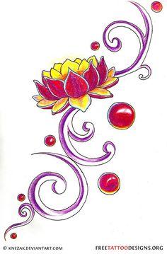 90 Lotus flower tattoo designs + meaning accross different cultures. Purple Lotus Tattoo, Lotus Flower Tattoo Design, Love Tattoos, I Tattoo, Tatoos, Tattoo Illustration, Pattern Wallpaper, Tatting, Body Art