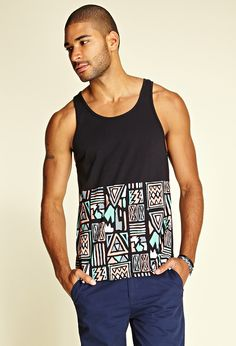 Tribal Print Tank Top | 21 MEN #80s #fashion #now