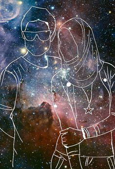 Couple galaxy outline Outline Art, Bedrooms, Wraps, Couple, Celestial, Wallpaper, Hair, Pictures, Outdoor