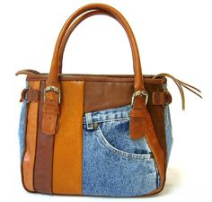 images- recyle denim bags | Recycled Jean Patchwork Handbag. Height 32cm x Width 28cm x Depth 12cm
