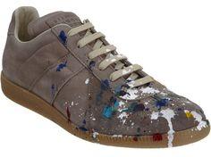 Maison Martin Margiela paint splatter sneakers (low $525).