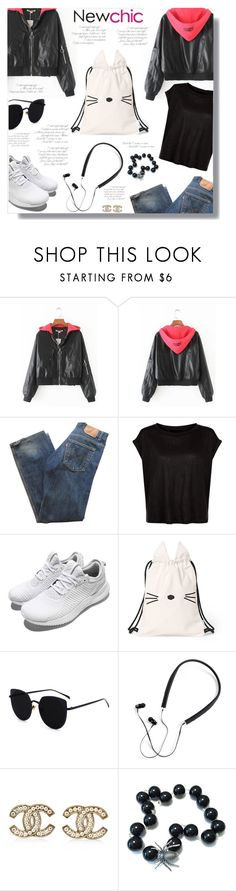 """""""NEWCHIC - Contest!"""" by sarguo ❤ liked on Polyvore featuring Levi's, adidas, Polaroid, Chanel, Summer, chic, leatherjacket, New and newchic"""