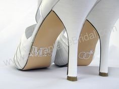 Mrs. Shoe Stickers for Bridal Shoes with Clear Double Rings $8.95; wedding shoe stickers