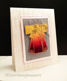 """handmade card from wienerhoneymooners: Fall -ColourQ Combination Challenges ... richly colored kimono on gray background that has been """"etched """" with dies ... lovely ..."""