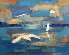"""Jean Oosterlynck """"Seagulls"""" Signed & Numbered Lithograph Art, birds, Belgium   eBay"""
