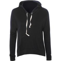 Black Overhead Hoodie (€11) ❤ liked on Polyvore featuring tops, hoodies, jackets, coats, outerwear, black, lightweight hoodies, hoodie top, lightweight hooded sweatshirt and light weight hoodies