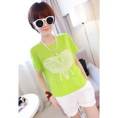$5.69 Trendy Elephant Pattern Short Sleeve Summer T-Shirt For Women