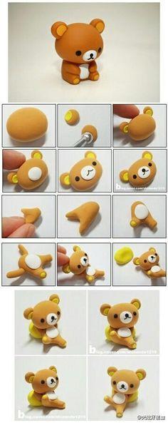 DIY fimo polymer clay teddy bear Rilakkuma - or for fondant Polymer Clay Kunst, Polymer Clay Animals, Cute Polymer Clay, Cute Clay, Fimo Clay, Polymer Clay Projects, Polymer Clay Charms, Polymer Clay Creations, Clay Crafts