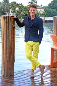 Summer by Daniel Cremieux - Luxury French Tailored Preppy...Navy blazer, blue polo shirt (shirts with colors are preferred when wearing blazers and sport coats) and contrasting yellow pants. The shoes are a bit out-of-sync for the nautical casualness of the overall look. Daniel Cremieux designs are beautifully tailored and in terrific color combinations...you may have to look a while to find a store that carries his line, but it's worth the effort....well done