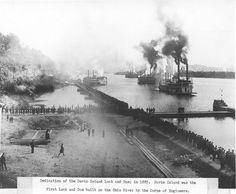 Commemoration of the Davis Lock and Dam, 1885 Rare Photos, Vintage Photographs, Old Photos, Vintage Photos, Pennsylvania History, Historic Philadelphia, Steam Boats, Historical Images, Pittsburgh Pa