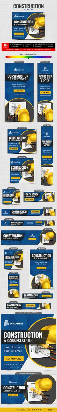 Construction Banners - Image Included by doto Promote your Products and services with this great looking Banner Set. Web Design, Layout Design, Creative Design, Flat Design, Graphic Design, Facebook Ad Size, Advertising Sales, Banner Images, Construction
