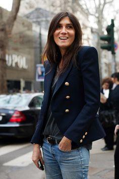 Emmanuelle Alt, always with her sharp shoulders, skinny jeans, heels. The chicest.
