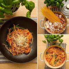 Hiv alt i en gryte og la det hele koke i 8-10 minutter, til pastaen er ferdig. One pot pasta er middagen når det skal gå litt fort og du…