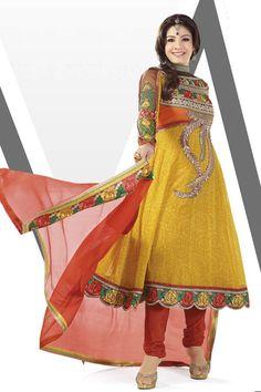 Raveena Tandoon Collection -Yellow Anarkali Suit