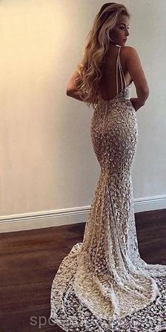 Mermaid Wedding Dresses Popular V Neck Mermaid Open Back Long Evening Prom Dresses, Grad Dresses, Cheap Prom Dresses, Formal Dresses, Wedding Dresses, Prom Dresses Long Open Back, Long Dresses, Silver Prom Dresses, Straps Prom Dresses, Ball Gowns Prom