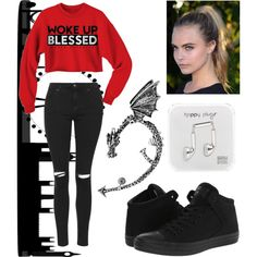 #red #fall by mariselaz on Polyvore featuring polyvore fashion style Topshop Converse Bling Jewelry Happy Plugs